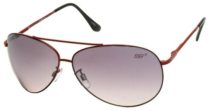 Angle of SW Aviator Style #8018 in Red Frame with Smoke Lenses, Women's and Men's
