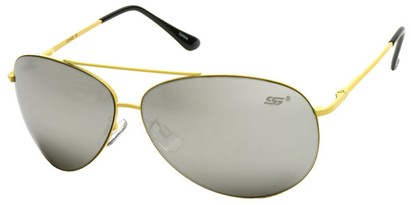 Angle of SW Aviator Style #8018 in Yellow Frame with Mirrored Lenses, Women's and Men's