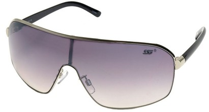 Angle of SW Shield Style #8022 in Silver and Black Frame, Women's and Men's