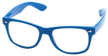 Angle of Ross #2905 in Blue Frame with Clear Lenses, Women's and Men's Retro Square Fake Glasses