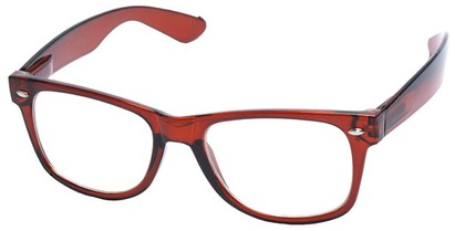 Angle of Ross #2905 in Brown Frame with Clear Lenses, Women's and Men's Retro Square Fake Glasses