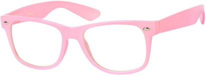 Angle of Ross #2905 in Light Pink Frame with Clear Lenses, Women's and Men's Retro Square Fake Glasses