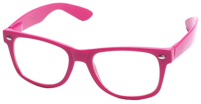 Angle of Ross #2905 in Pink Frame with Clear Lenses, Women's and Men's Retro Square Fake Glasses