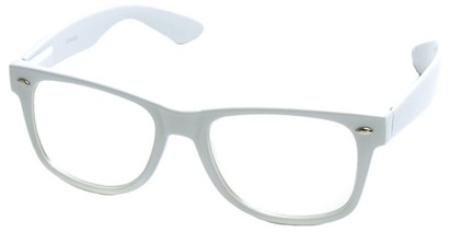 Angle of Ross #2905 in White Frame with Clear Lenses, Women's and Men's Retro Square Fake Glasses
