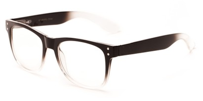 Angle of Bass #14611 in Black/Clear Fade Frame, Women's and Men's Retro Square Sunglasses