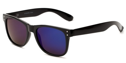 Angle of Primo #1561 in Black Frame with Blue/Purple Mirrored Lenses, Women's and Men's Retro Square Sunglasses