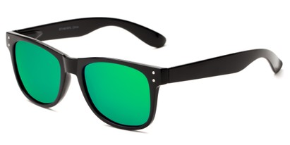 Angle of Primo #1561 in Black Frame with Green/Blue Mirrored Lenses, Women's and Men's Retro Square Sunglasses