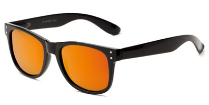 Angle of Primo #1561 in Black Frame with Red/Orange Mirrored Lenses, Women's and Men's Retro Square Sunglasses