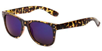 Angle of Primo #1561 in Brown Tortoise Frame with Blue/Purple Mirrored Lenses, Women's and Men's Retro Square Sunglasses