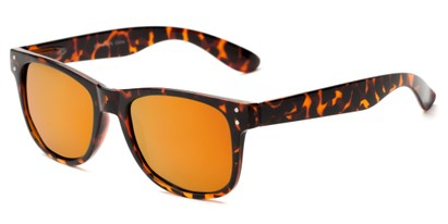 Angle of Primo #1561 in Brown Tortoise Frame with Red/Orange Mirrored Lenses, Women's and Men's Retro Square Sunglasses