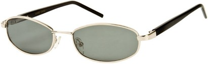 Angle of SW Polarized Style #1592 in Glossy Silver/Black Frame, Women's and Men's