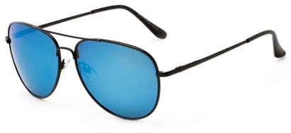Angle of Amazon #2174 in Black Frame with Blue Mirrored Lenses, Women's and Men's Aviator Sunglasses