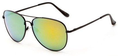 Angle of Amazon #2174 in Black Frame with Yellow/Blue Mirrored Lenses, Women's and Men's Aviator Sunglasses