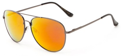 Angle of Amazon #2174 in Grey Frame with Red/Orange Mirrored Lenses, Women's and Men's Aviator Sunglasses