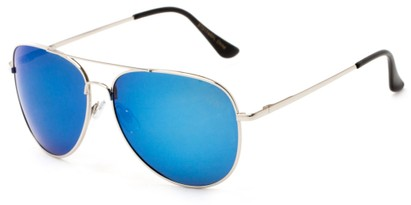 Angle of Amazon #2174 in Silver Frame with Blue Mirrored Lenses, Women's and Men's Aviator Sunglasses