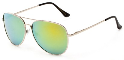 Angle of Amazon #2174 in Silver Frame with Yellow/Blue Mirrored Lenses, Women's and Men's Aviator Sunglasses