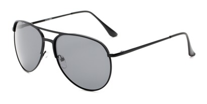Angle of Remington #2179 in Glossy Black Frame with Grey Lenses, Women's and Men's Aviator Sunglasses