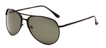 Angle of Remington #2179 in Glossy Black Frame with Green Lenses, Women's and Men's Aviator Sunglasses