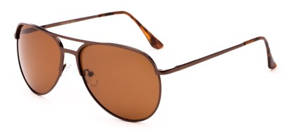 Angle of Remington #2179 in Glossy Brown Frame with Brown Lense, Women's and Men's Aviator Sunglasses