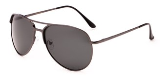 Angle of Remington #2179 in Glossy Grey Frame with Grey Lenses, Women's and Men's Aviator Sunglasses
