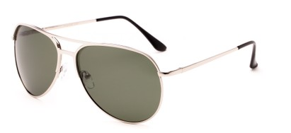 Angle of Remington #2179 in Glossy Silver Frame with Green Lenses, Women's and Men's Aviator Sunglasses