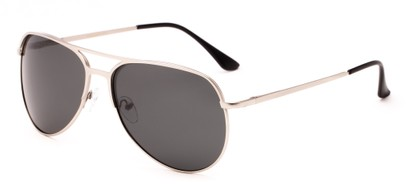Angle of Remington #2179 in Matte Silver Frame with Grey Lenses, Women's and Men's Aviator Sunglasses
