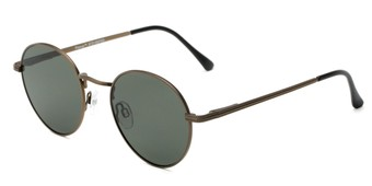 Angle of Parker #2199 in Matte Bronze/Black Frame with Green Lenses, Women's and Men's Round Sunglasses