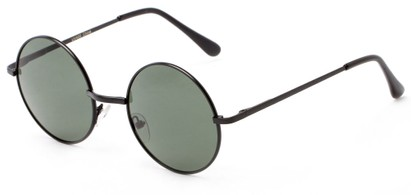 Angle of Lagoon #3111 in Matte Black Frame with Green Lenses, Women's and Men's Round Sunglasses