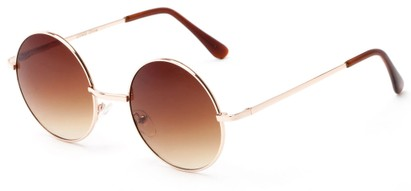 Angle of Lagoon #3111 in Gold Frame with Amber Lenses, Women's and Men's Round Sunglasses