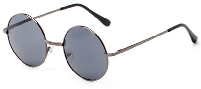 Angle of Lagoon #3111 in Glossy Grey Frame with Grey Lenses, Women's and Men's Round Sunglasses