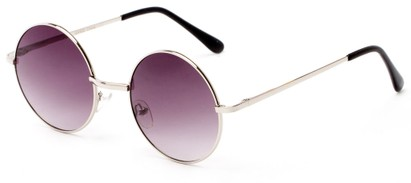 Angle of Lagoon #3111 in Silver Frame with Grey Lenses, Women's and Men's Round Sunglasses
