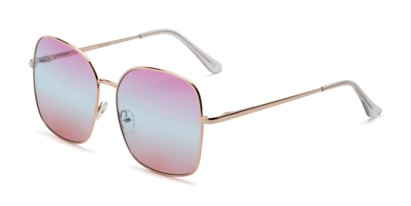 Angle of Kay #3135 in Gold Frame with Purple/Blue Faded Lenses, Women's Square Sunglasses