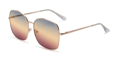 Angle of Kay #3135 in Gold Frame with Blue/Amber Faded Lenses, Women's Square Sunglasses