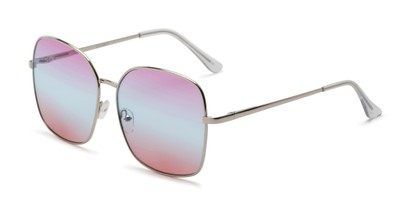 Angle of Kay #3135 in Silver Frame with Purple/Blue Faded Lenses, Women's Square Sunglasses