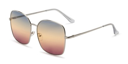 Angle of Kay #3135 in Silver Frame with Blue/Amber Faded Lenses, Women's Square Sunglasses