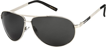 Angle of Memphis #506 in Glossy Silver Frame with Grey Lenses, Women's and Men's Aviator Sunglasses