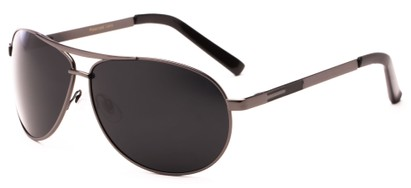 Angle of Memphis #506 in Matte Grey Frame with Grey Lenses, Women's and Men's Aviator Sunglasses