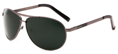 Angle of Memphis #506 in Matte Gray Frame with Green Lenses, Women's and Men's Aviator Sunglasses