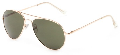 Angle of Gunnar #1212 in Gold Frame with Green Lenses, Women's and Men's Aviator Sunglasses