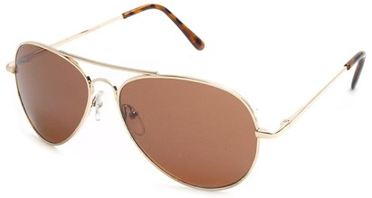 Angle of Crossroads #31096 in Gold Frame with Copper Lenses, Women's and Men's Aviator Sunglasses