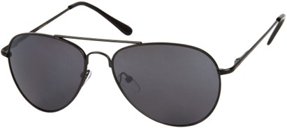 Angle of Gunnar #1212 in Black Frame with Dark Smoke Lenses, Women's and Men's Aviator Sunglasses