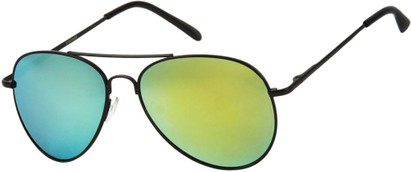 Angle of Miami #1285 in Black Frame with Yellow/Green Mirrored Lenses, Women's and Men's Aviator Sunglasses