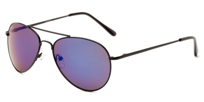 Angle of Miami #1285 in Black Frame with Green/Purple Mirrored Lenses, Women's and Men's Aviator Sunglasses