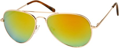 Angle of Miami #1285 in Gold Frame with Orange Mirrored Lenses, Women's and Men's Aviator Sunglasses
