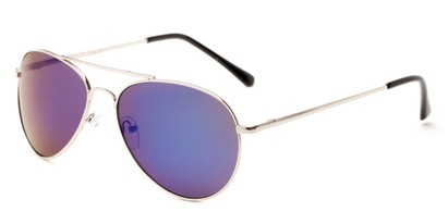 Angle of Miami #1285 in Silver Frame with Purple/Blue Mirrored Lenses, Women's and Men's Aviator Sunglasses