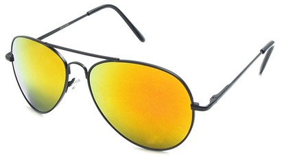 Angle of Miami #1285 in Black Frame with Orange Mirrored Lenses, Women's and Men's Aviator Sunglasses