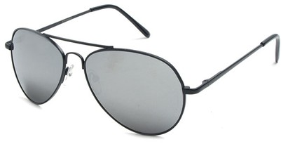 Angle of Bering #5404 in Black Frame with Silver Mirrored Lenses, Women's and Men's Aviator Sunglasses