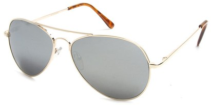 Angle of Bering #5404 in Gold Frame with Silver Mirrored Lenses, Women's and Men's Aviator Sunglasses