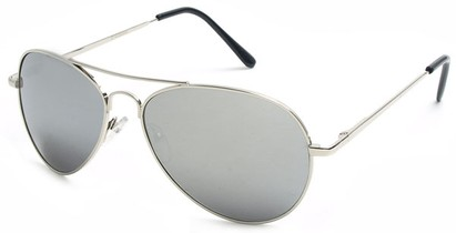 Angle of Bering #5404 in Silver Frame with Silver Mirrored Lenses, Women's and Men's Aviator Sunglasses