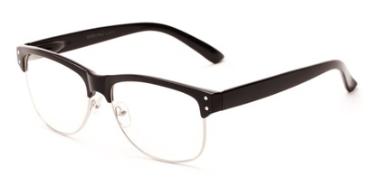 Angle of Baton #83955 in Black/Silver Frame with Clear Lenses, Women's and Men's Browline Fake Glasses